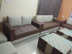 Modern Rexine Living Room Designer Sofa Set, Cushion Back