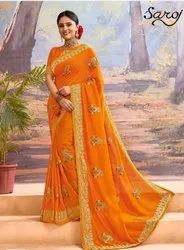 Yellow color fancy silk saree