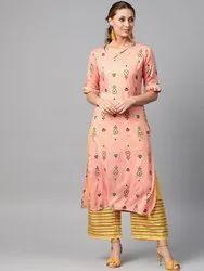 La Firangi Women Peach- Coloured & Yellow Printed Kurta With Palazzos