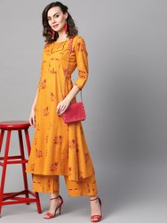 La Firangi Women Mustard Yellow & Red Printed Kurta With Palazzos