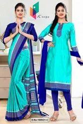 Sea Green Navy Blue Premium Italian Silk Crepe Saree For Employees Uniform Sarees
