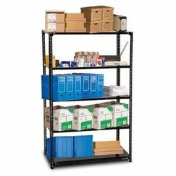 Black, Gray Powder Coated MS Slotted Angle Rack, For Warehouse