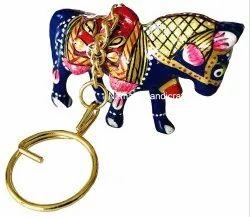 Metal Meenakari Animal Statue Key Chain Key Ring Sculpture