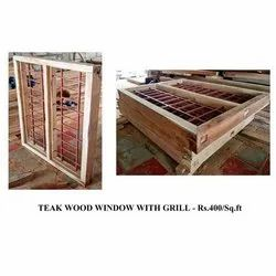 Teak Wood Window With Grill, For Home, Size: 5x4 Feet