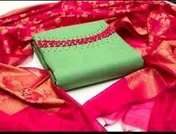 Anmazing Factory Un-stitch Chanderi With Khatli Handwork DRESS MATERIAL