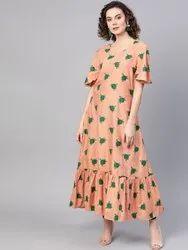 La Firangi Women Peach-Coloured & Green Printed A-Line Kurta