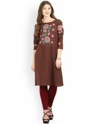 La Firangi Women Brown Embroidered Straight Kurta