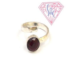 Garnet Gemstone  Round Shape Silver Plated Ring