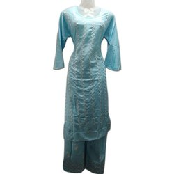 Straight Full Sleeve Ladies Party Wear Cotton Kurtis With Palazzo, Wash Care: Handwash