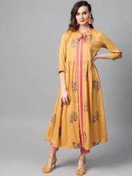 La Firangi Women Yellow & Pink Printed Layered A- Line Kurta