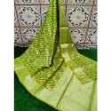 Party Wear Printed Green Masrise Cotton Saree, With Blouse, 6 M