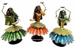 Nirmala Handicrafts Iron Dancing Bengali 3 Lady Set Home/Table Decorative Multicolor Showpiece