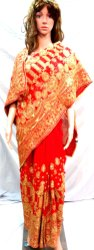 Party Wear Border Red Dulhan Fancy Wedding Saree, Dry clean, Saree Length: 6 m (with blouse piece)