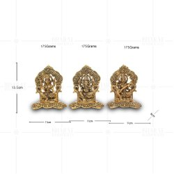 Gold Plated Laxmi Ganesh Saraswati Separate Frame