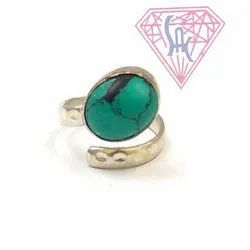 Turquoise Gemstone Ring with Silver Plated