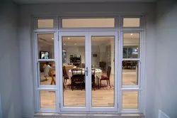 Hinged Aluminium Glass Entrance Double Door, Thickness: 18 Gauge