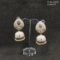 Antique Meenakari Jhumka Earrings