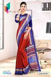 Red Ink Blue Premium Italian Silk Crepe Saree For Student Uniform Sarees