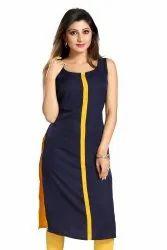 Women Plain crepe straight Kurta (Navy Blue)