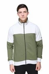 Olive Green  Full Sleeves Zipper Sweatshirt For Men
