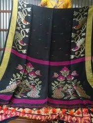 Party wear Ladies Fancy Linen Saree, With blouse piece, 6.3 m