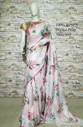 HALIM Party Wear Digital Printed Saree, 6.3 m (with blouse piece)