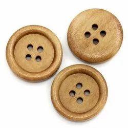 Brown Round 4 Hole Wooden Button
