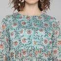 Janasya Women''s Sea Green Pure Cotton Ethnic Dress(J0025)