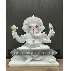 Pure White Seated Marble Ganesh Statue