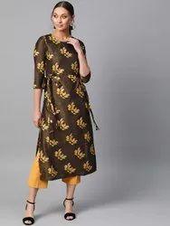La Firangi Women Brown & Yellow Printed Straight Kurta