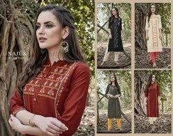 Designer Cotton With Embroidery Kurti, Wash Care: Dry clean