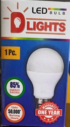 D Lights Aluminum LED Bulb 7 W, For Indoor, Base Type: B22