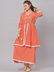 La Firangi Women Orange & White Printed Anarkali Kurta