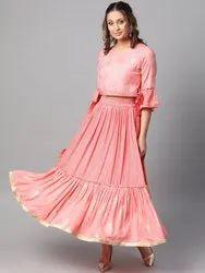 La Firangi Women Pink & Golden Printed Top With Skirt