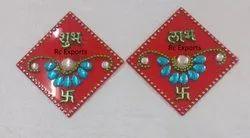Acrylic Rohmbus Decorative New Design Subh Labh, For Home,Religious Activity