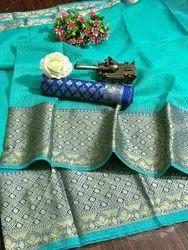 Party Wear Border estival & Puja Season SAREE, With blouse piece, 5.5 m (separate blouse piece)