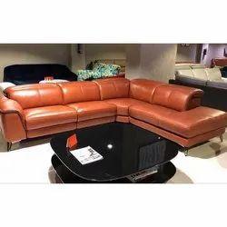 Modern 5 Seater Brown L Shape Sofa Set, For Living Room