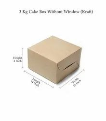 Brown 3 Kg Cake Box Without Window (Kraft), 350, Packaging Size: 50
