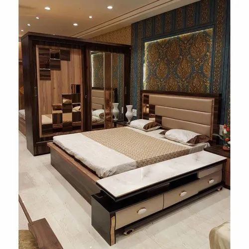 Goodluck Wood Glass Bedroom Furniture For Home Rs 100000 Set Id 21869311373