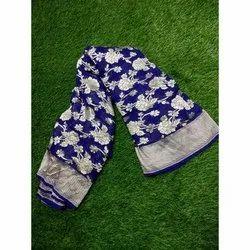 Printed Blue Ladies Designer Chiffon Handloom Saree, Machine wash, 6.40 meter (with blouse piece)