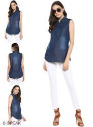 Sleeves Less Plain Ladies Blue Denim Shirts, Casual