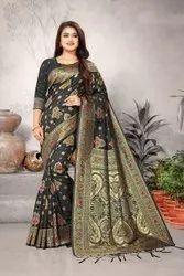 Kundan Work Tussar Lichi Silk Saree, 6.3 m (With Blouse Piece)
