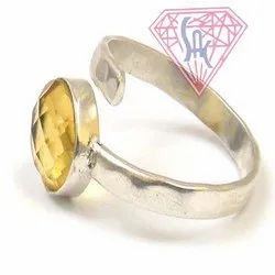 Citrine Quartz Gemstone Ring with Silver Plated