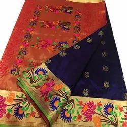 Ovi Paithani Wedding Wear Pure Tussar Silk Saree, 6.3 m (with blouse piece)