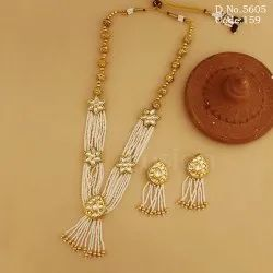 Pearl Beaded Kundan Necklace Set