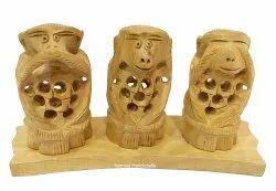 Nirmala Handicrafts Exporters Wooden Carving Monkey Set Statue Decor Showpiece