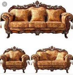 Own Brown Wooden Carved Sofa Set, For Home