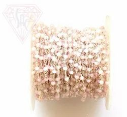 Natural Pink Chalcedony Chain