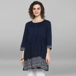 Janasya Women's Navy Blue Cotton Flex Kurti (JNE3523)