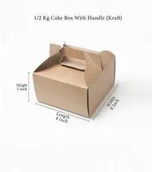 Square Plain 1/2 Kg Cake Box With Handle (Kraft), 350